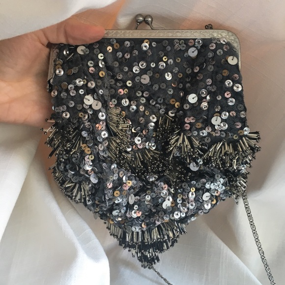 Free People beaded cross body bag with chain